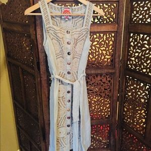 NEW Johnny Was Embroidered Midi Dress Blue Small